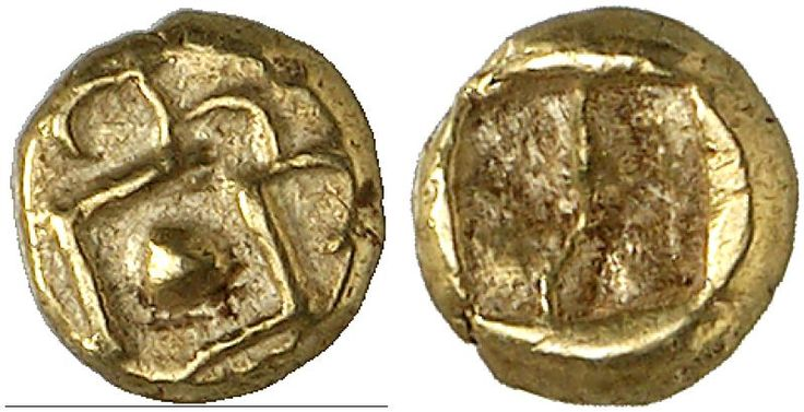 EL Twenty-Fourth Stater, Milesian standard. Greek Coin, Ionia, Early Coinage in Electrum. 0,58g. RR! EF. Price realized 2011: 2.000 USD.