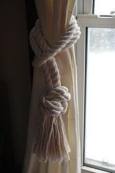 Beach Home Nautical Cotton Rope Curtain Tiebacks - 3/4 Inch Cotton Rope