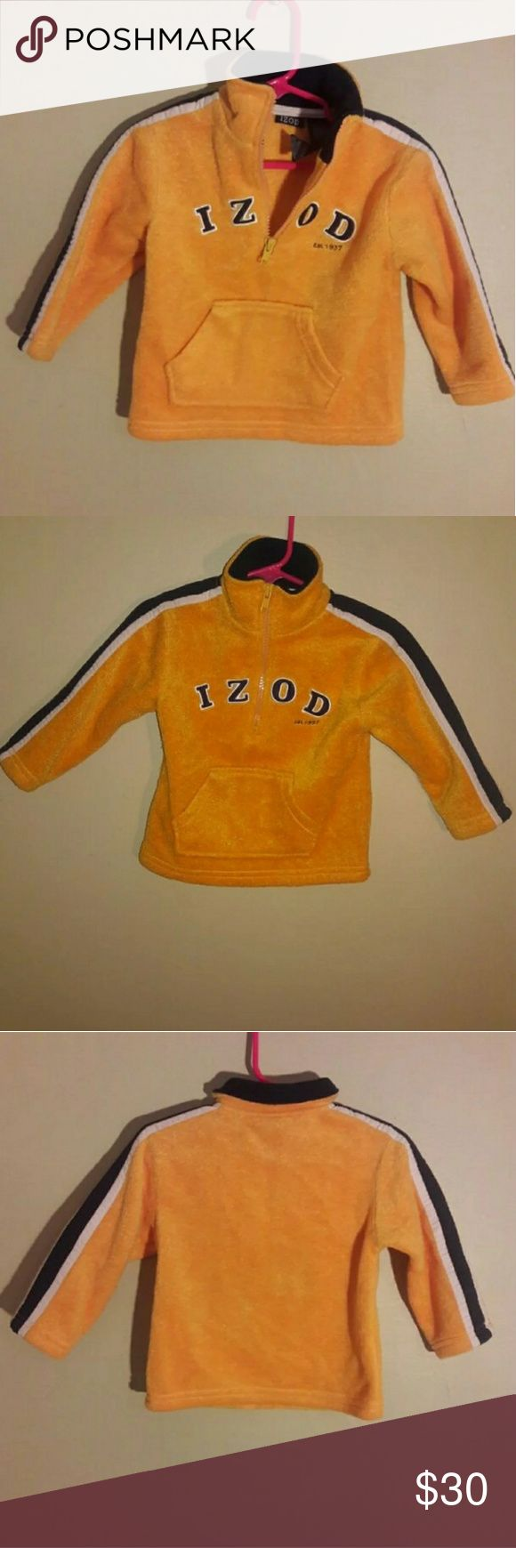 Izod boy's 18 month pull over sweat jacket Izod 18 month yellow, blue and white boy's pull over sweat jacket , new without tags never worn. Izod Jackets & Coats