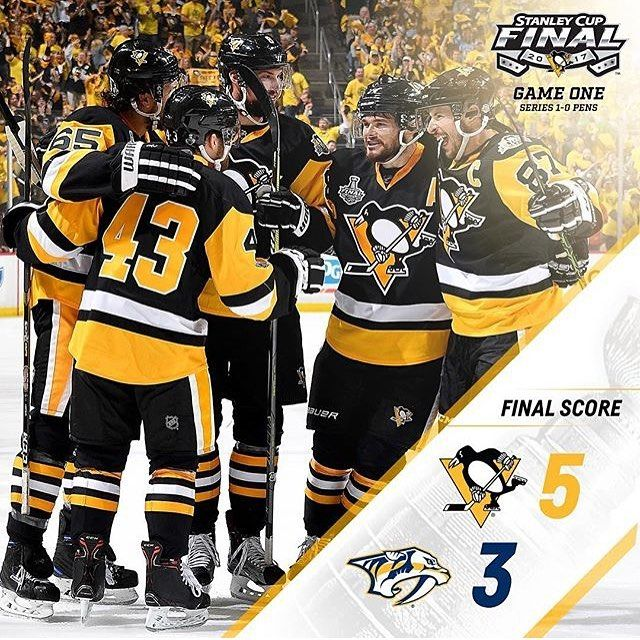 Pens win Game 1 by the score of 5-3!  #hockey #hockeylife #hockeyislife #nhl #skill #legend #dangle #snipe #goal #celly #hit #penguins #predators #playoffs #stanleycup #stanleycupfinals #gameone #round4 #pittsburgh #nashville #win #winningstreak #may #hockeyfightscancer #pucklife #likeit #PITvsNSH