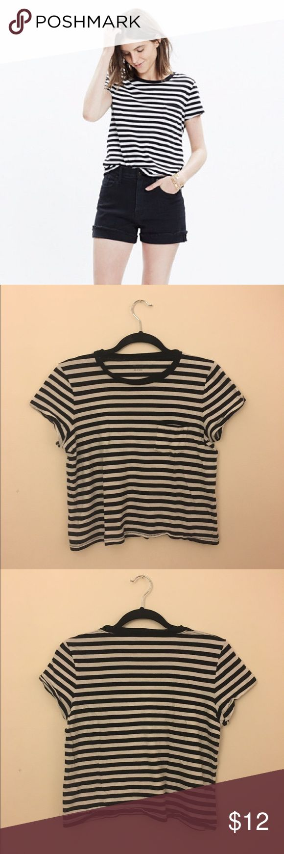 Madewell Striped Radio Tee A classic boxy striped shirt. Black and white, a bit cropped. Worn and washed a few times but still in great condition! Size small. Madewell Tops Tees - Short Sleeve