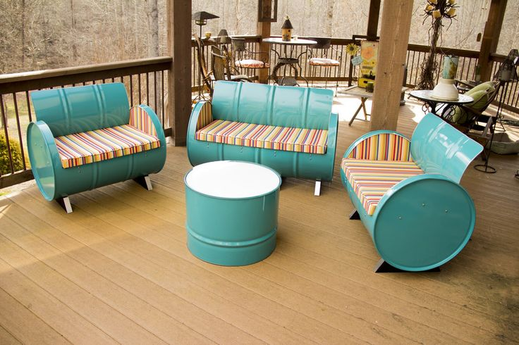 oil drum furniture for the exterior