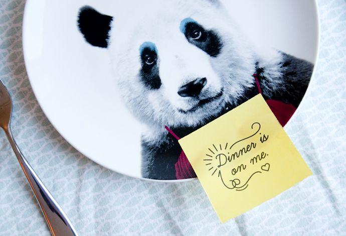 Panda bord #panda #wilddining #animal #bear #plate #food #cooking #kitchen #beer #dier #bord #keuken #eten #voedsel #koken