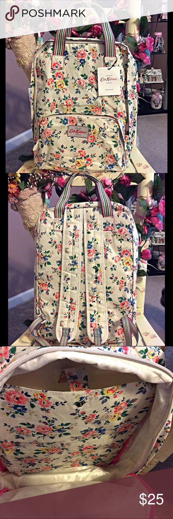 "Cath Kidston backpack NWT Cath Kidston oilcloth shabby chic floral backpack Padded laptop sleeve in bag fits most 13"" laptops Super lightweight Water resistant and wipe able oilcloth Fully lined interior Very nice backpack NWT Cath Kidston Bags Backpacks"