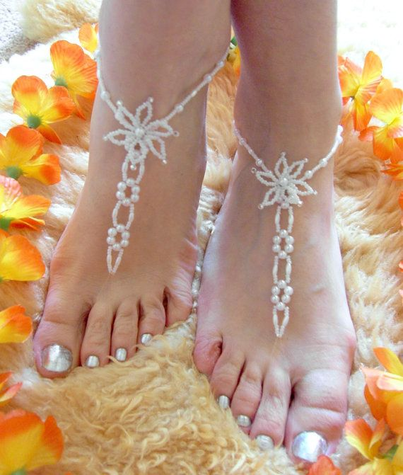 Barefoot Sandals Foot Jewelry Pearl  Beach by elenascrochetjewelry