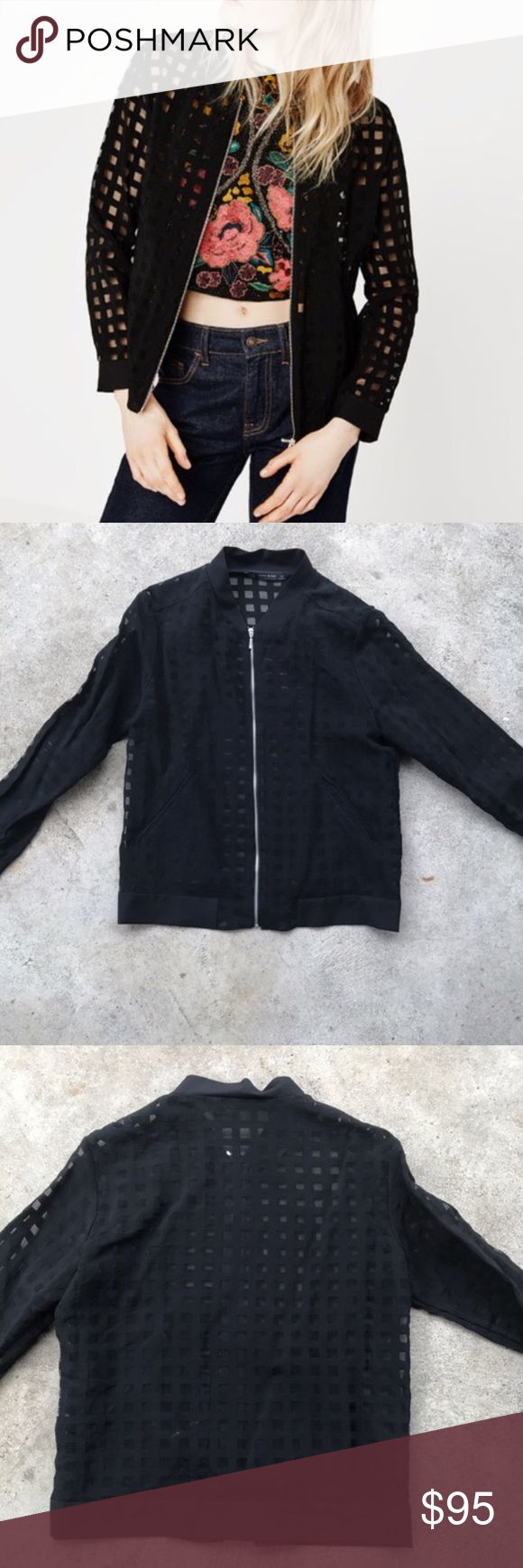 🌵Zara Grid Bomber Jacket Awesome Zara jacket. Very cool looking & modern & versatile. Doesn't fit me right or I'd keep it. Love the look! Excellent pre-loved condition! Zara Jackets & Coats