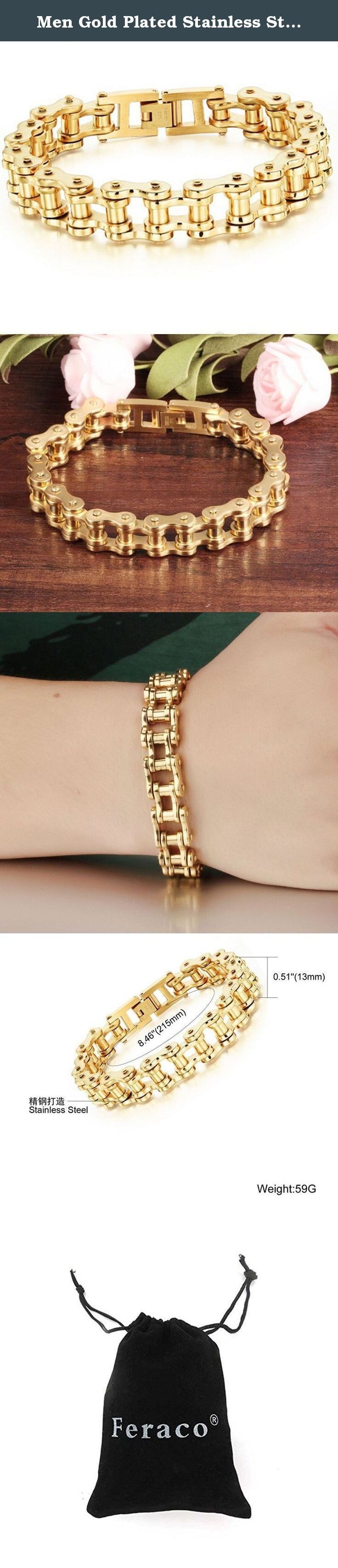 Men Gold Plated Stainless Steel Motorcycle Bike Chain Bracelet Link Wristband Bangle,8.4 Inch. Heavy Metal Stainless Steel Men's Bike Chain Bracelets Motorcycle Biker Link Bracelet This bracelet is perfect for someone who loves riding road ,skateboards,and mountain bicycles Bracelet Feature: Condition: 100% Brand new Quantity:1 piece. Main Material: 316L Stainless steel More Details: as the pictures show Why choose Feraco Jewellery? Feraco is a well-known brand in the jewellery field.Its...