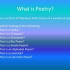32 page poetry unit. Students will be able to create there own poetry book featuring 7 kinds of poems. Haiku, cinquain,diamante, bio poem, simile p...
