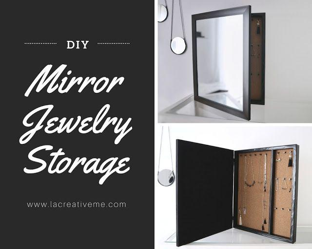 DIY Mirror Jewelry Storage - La creme
