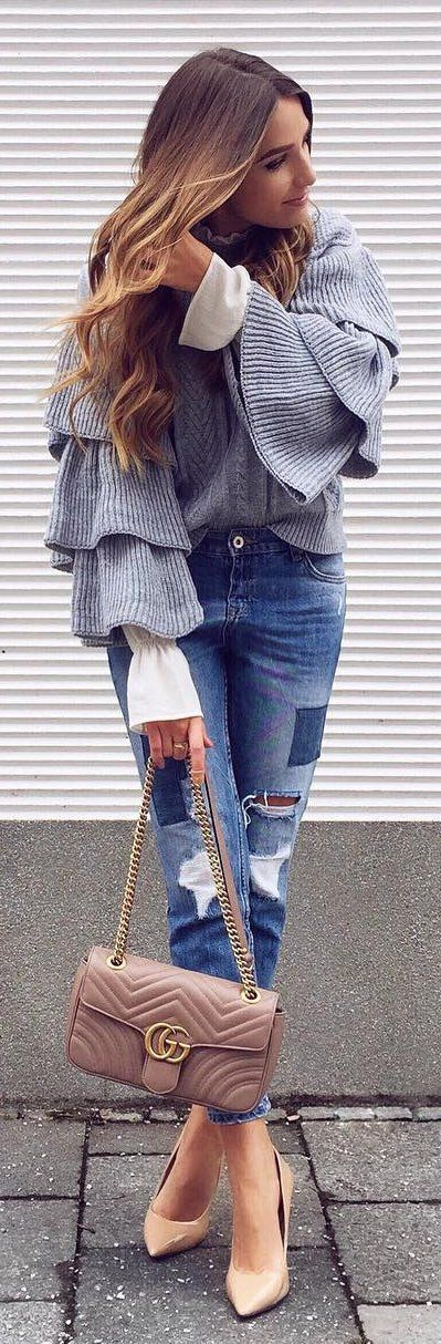 #winter #fashion /  Striped Top / Ripped Jeans / Nude Pumps