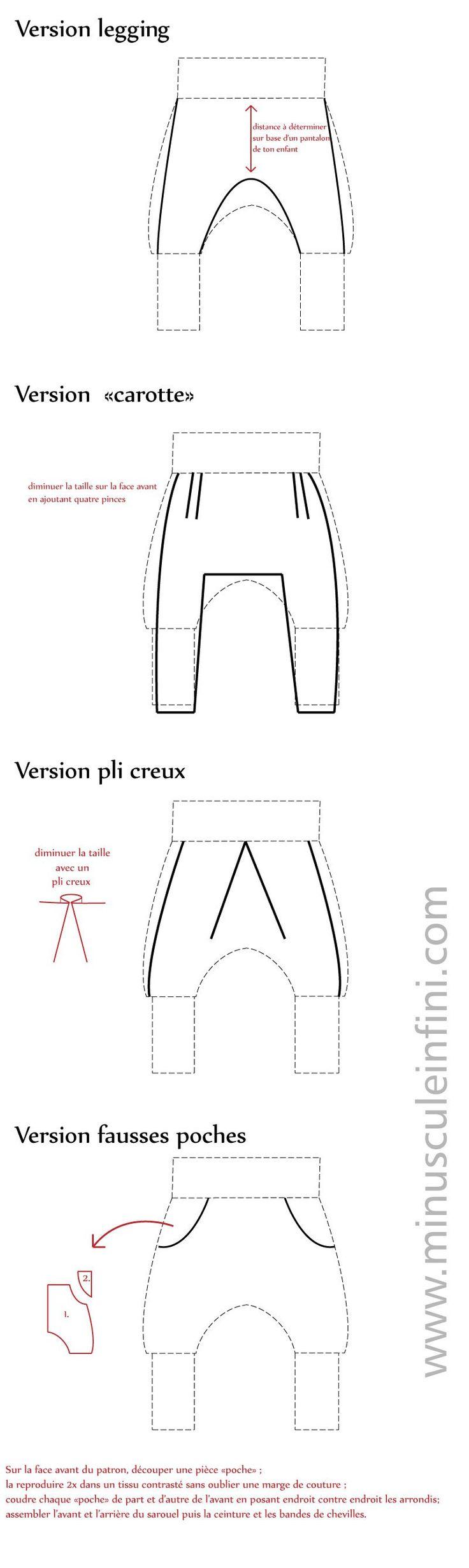 """Un pas de plus vers l'indépendance en couture... Voici quatre propositions pour modifier le patron du sarouel pour bébé de Minuscule infini : une version legging, une version """"carotte"""", une version..."""