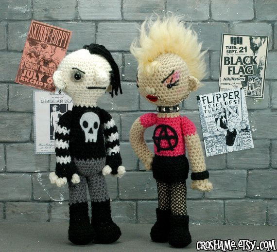 The Odd Couple  Ready to ship punk girl and goth boy by croshame