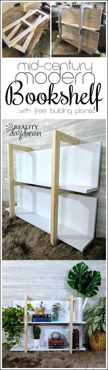 Build this simple Mid-Century Modern Bookshelf with these FREE building plans~ #tutorial #mcm {Reality Daydream}