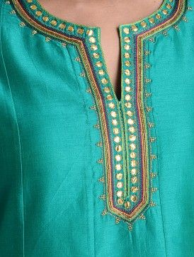 Aquamarine Green Gota Patti & Zari Embroidered Kalidar Chanderi Kurta