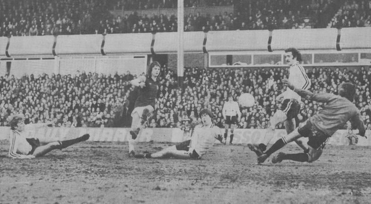 26th February 1977. Aston Villa forward Brian Little scores in their 3-0 win over Port Vale in the FA Cup 5th Round.