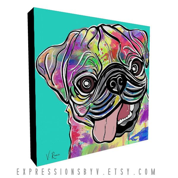 Watercolor Landcolor Skycolor — Pug Dog Art Print, Canvas Art Print, Square Canvas...