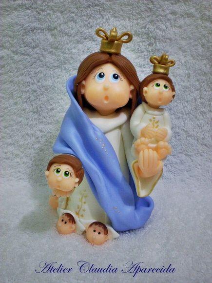 Nossa Senhora da Cabeça modelada em biscuit com características infantis.  Elo7 - Atelier Claudia Aparecida