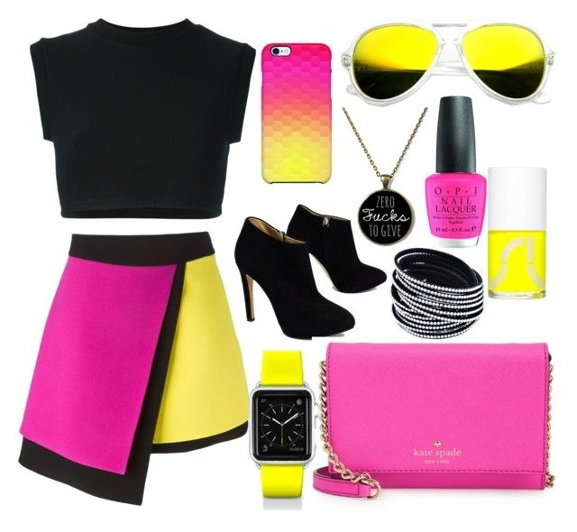 """""""black/yellow/pink"""" by angel9841 ❤ liked on Polyvore featuring Belleza, FAUSTO PUGLISI, adidas Originals, Giuseppe Zanotti, Kate Spade, Uncommon, Revo, Uslu Airlines, OPI y Casetify"""