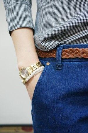 indigo blue jeans, brown weaved belt, brown leather belt, tissot, gold watch, pearl bracelet, check shirts, pattern, american apparel, topshop