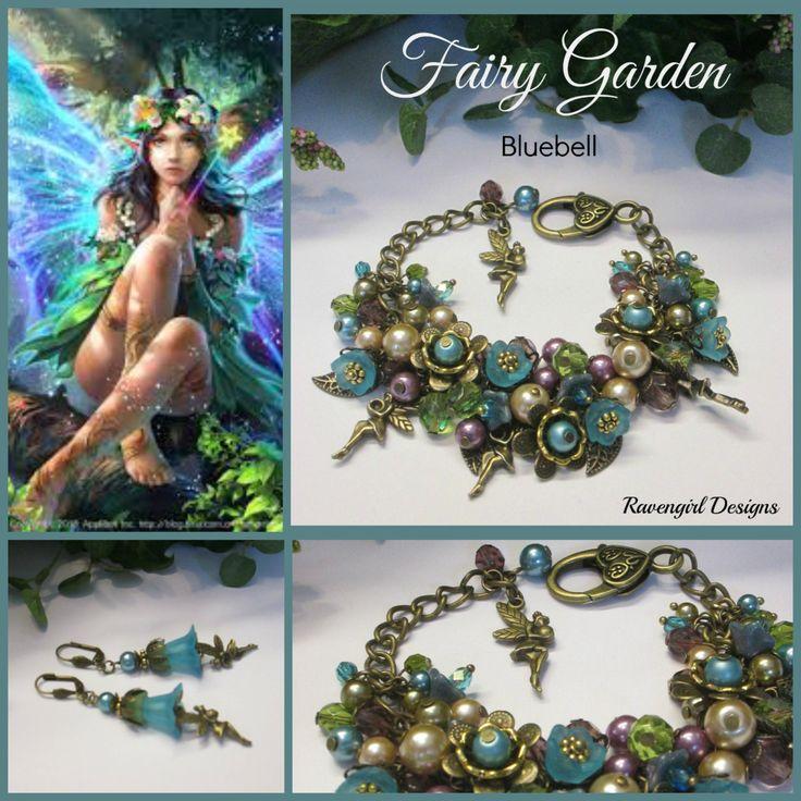 FAIRY GARDEN Bluebell Pearls, Crystals, Flowers Cluster Charm Bracelet, Lavender Teal Green, Vintage Victorian Style, Ravengirl Design by RavengirlDesign on Etsy