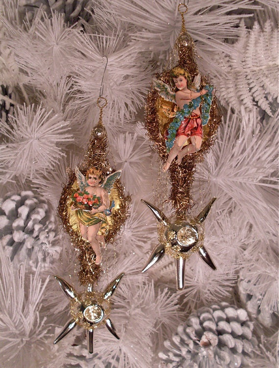 2 Victorian Angel Christmas Ornaments with by TheHauntedLamp, $155.00