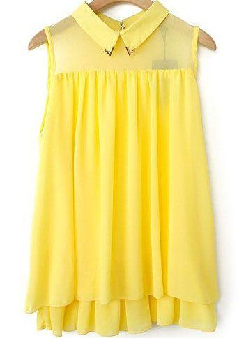 Yellow Lapel Sleeveless Double Layers Chiffon Blouse 16.33