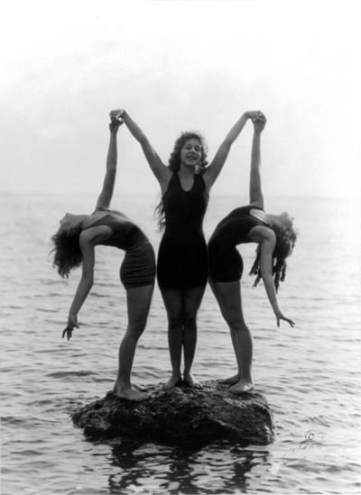 Backbend; partner yoga photography  Mack Sennett Bathing Beauties c.1922 Loved and Pinned by www.downdogboutique.com to our Yoga community boards