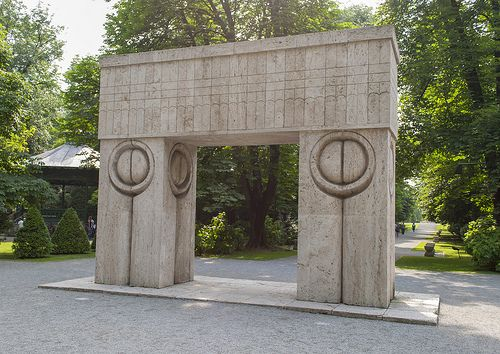 Nicolaie Brancusi's famous Kiss Gate   ~ The Kiss Gate by Nicolaie Brancusi at Targu Jiu.