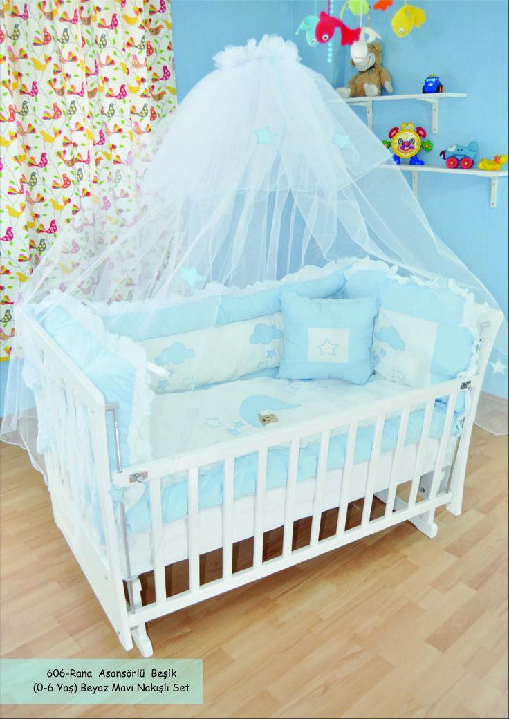 Rana Beyaz Mavi Karyola Beşik http://www.showbebek.com/rana-beyaz-mavi-karyola-besik.html
