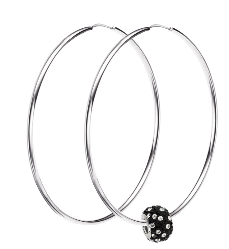 Amore & Baci silver hoop earrings with Swarovski bead