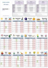 Un calendrier individuel pour l'année scolaire 2013-2014 (6 mois ou 12 mois par page) pour les élèves et les enseignants.