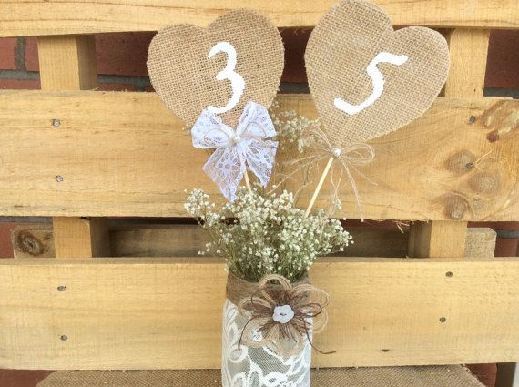 Rustic Table Numbers. Burlap Wedding Table by WineCountryAccents