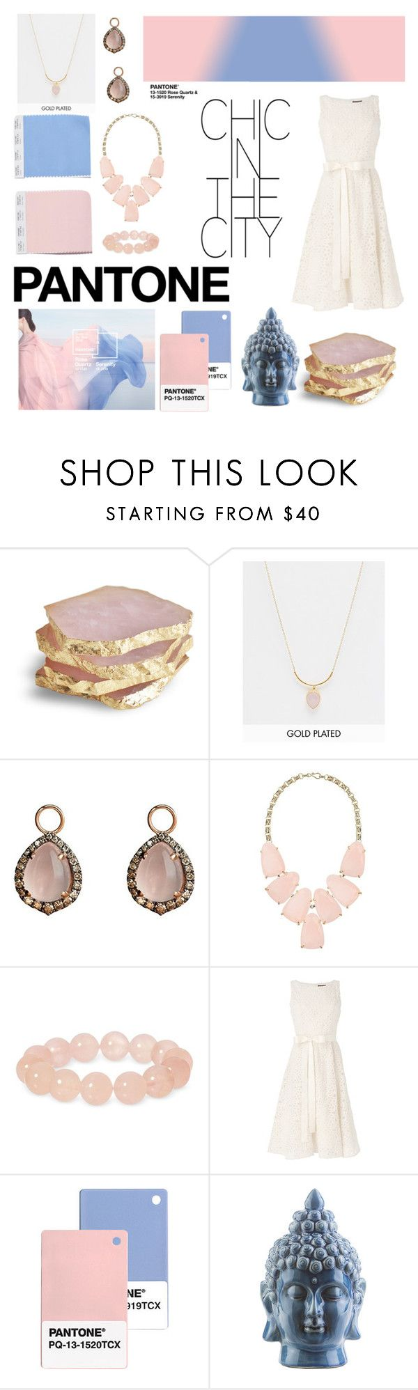 """""""Pantone Beauty: Rose Quartz and Serenity"""" by smartiesandparties ❤ liked on Polyvore featuring beauty, Ottoman Hands, Annoushka, Kendra Scott, Phase Eight and Dot & Bo"""
