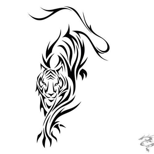 Un diseño estilo tribal de un tigre, ideal para los brazos.                                                                                                                                                                                 Más