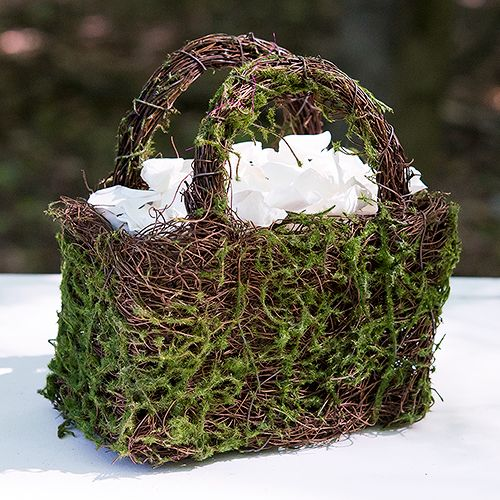 Faux Moss and Wicker Basket with Handles and Liner - Bridal Everything