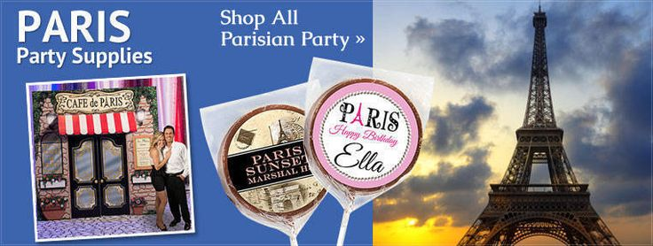 Paris theme party supplies take your guests away to Paris for a romantic event. Create a personalized Paris theme party with props, banners, and decorations from Shindigz.