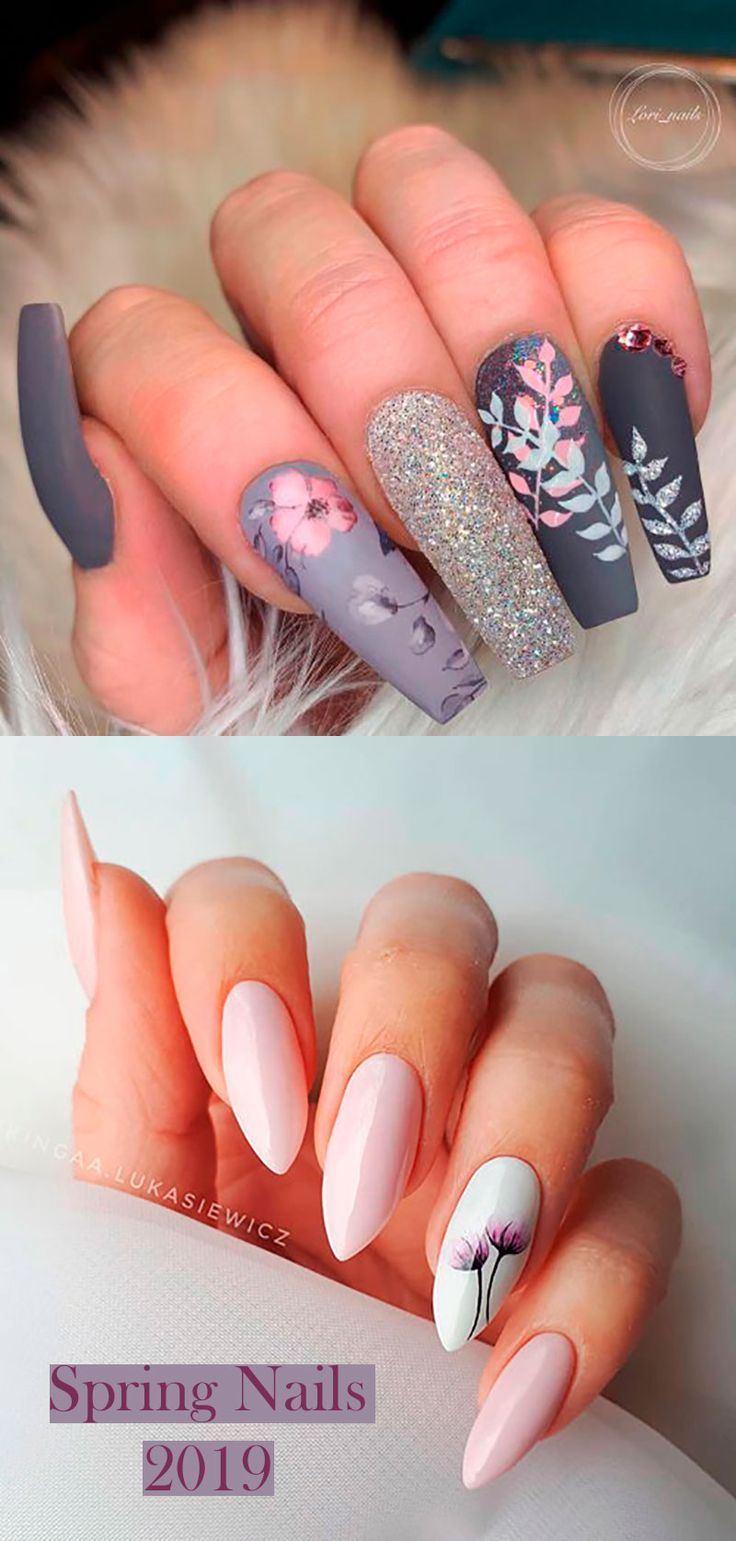 Cute Floral Spring Nails Ideas For 2019 Shiny Nails Designs Nails Pretty Acrylic Nails