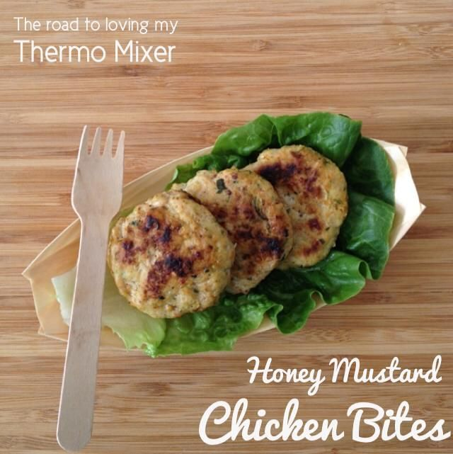 Honey Mustard chicken is a big hit in this house. I thought I would do a bit of a twist.  These were quite tasty served along with salad but you could shape them much bigger and use as a burger patty or serve in tortillas or spinach wraps.  These can