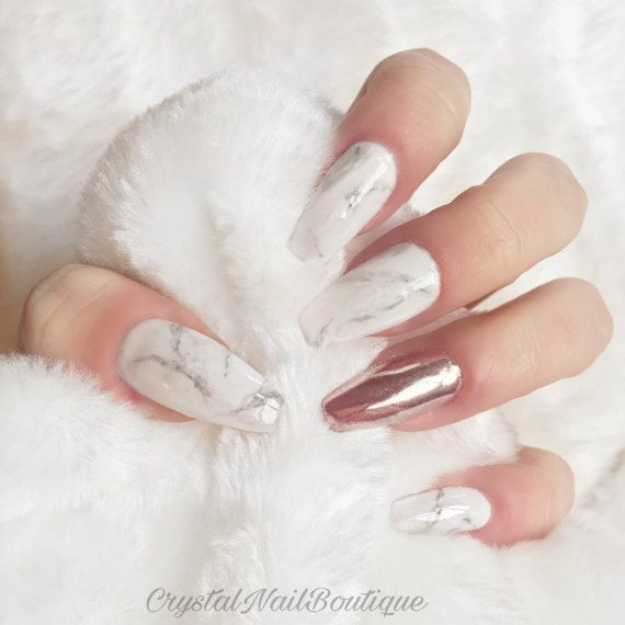 The 25 best marble nails ideas on pinterest nails matte nails marble press on nails rose gold chrome by crystalnailboutique prinsesfo Gallery