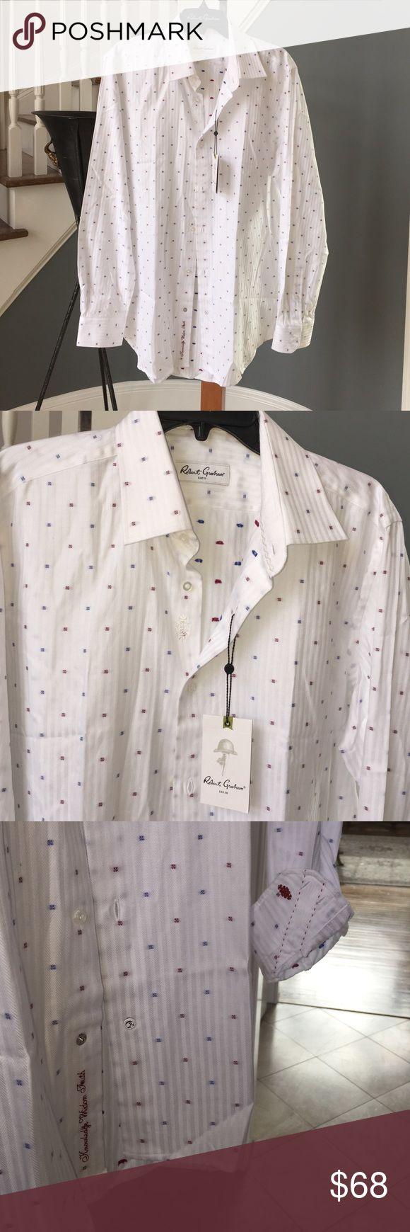 Robert Graham / Style: Isaac RC in white Robert Graham sleek white shirt with Robert Graham logo on cuff.  100% Cotton sizes: 42 / US 16.5 Robert Graham Shirts