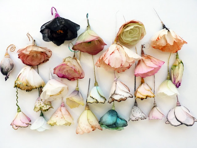 Lyndie Dourthe, floral pieces, made from paper and fabric by french artist.