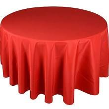 90 Inch Red Polyester Round Tablecloths