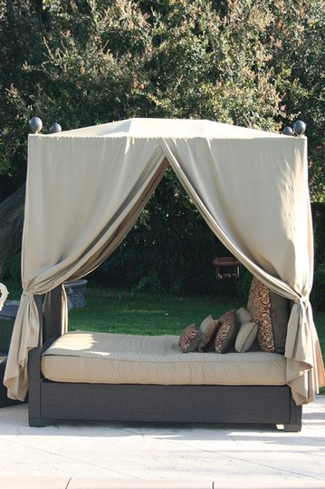 Top 84 ideas about pool houses on pinterest outdoor beds for Pool canopy bed