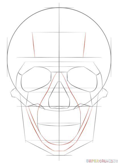 How to draw a human skull step by step. Drawing tutorials for kids ...