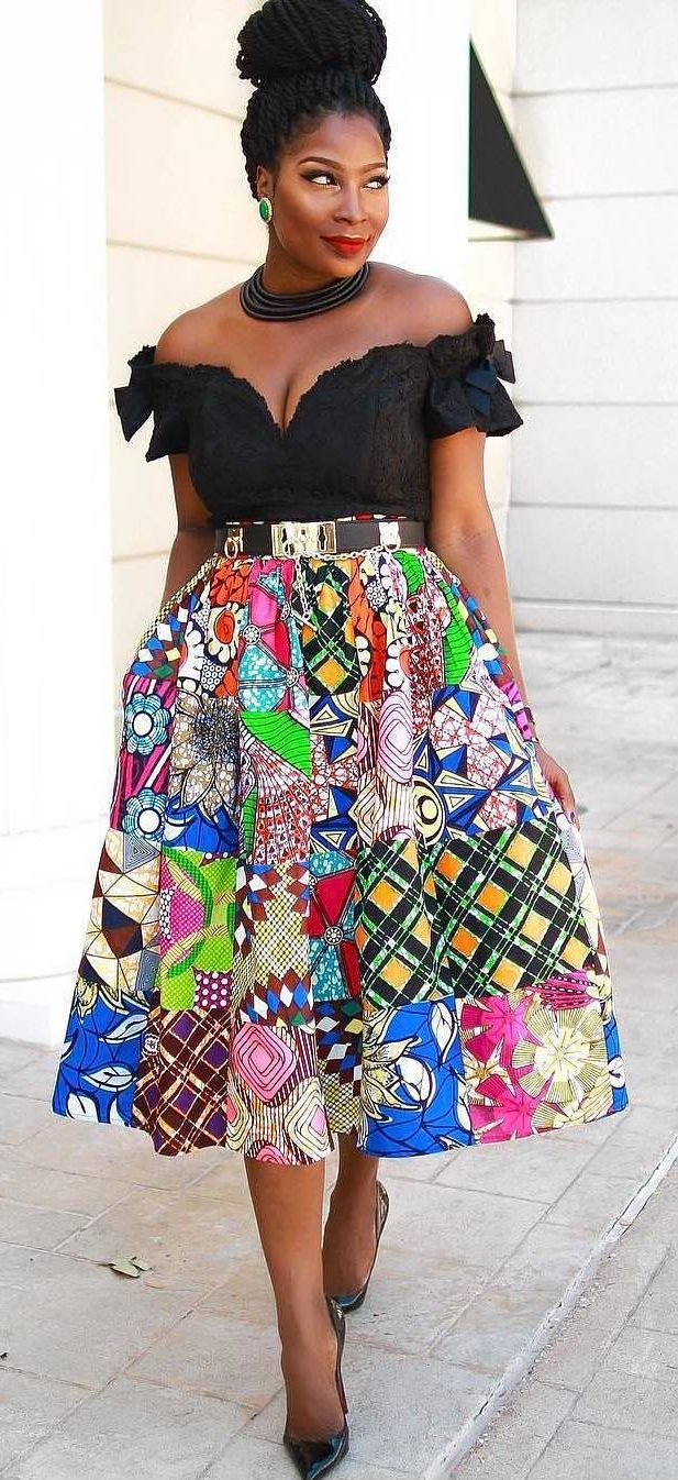 I'd have a white top but still, this is a great way to compliment a crazy colourful skirt.  African print long skirt, African fashion, Ankara, kitenge, African women dresses, African prints, African men's fashion, Nigerian style, Ghanaian fashion, ntoma, kente styles, African fashion dresses, aso ebi styles, gele, duku, khanga, krobo beads, xhosa fashion, agbada, west african kaftan, African wear, fashion dresses, african wear for men
