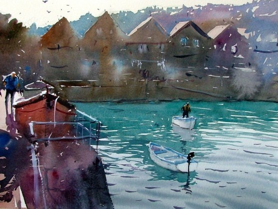 st ives harbour cornwall original watercolour by tim wilmot 376739 557x418 Tim Wilmot