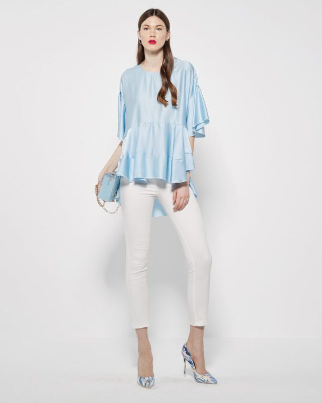 ASYMMETRIC SATEEN SHIRT