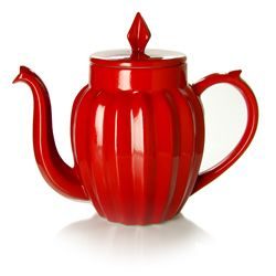 LUCKY STAR Teapot  red porcelain..red teapots are Very hard to find!