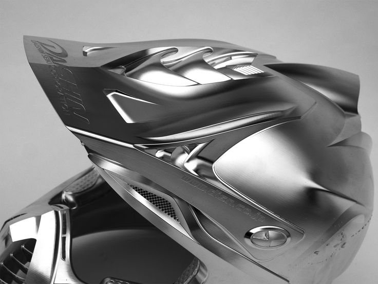 The grey collection: Motorcycle helmet in Alloy – with the 5 axis strategies from hyperMILL, geometrically complex parts that up to now could not be  milled or only with a great deal of manual eff ort can now be manufactured cost eff ectively.