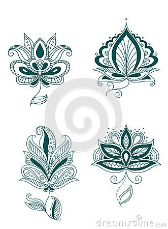 Set Of Abstract Persian Or Indian Flowers - Download From Over 29 Million High…